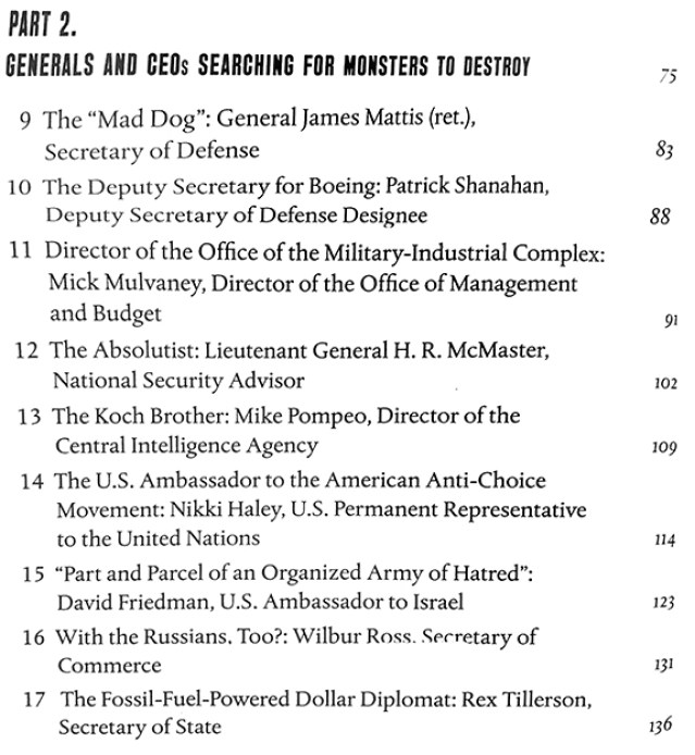 Part 2 of Table of Contents from book on Trump's deplorables