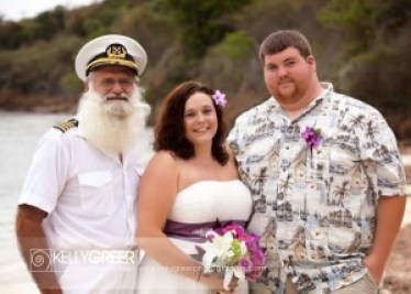 Captain John Big Beard Macy with Michelle and James