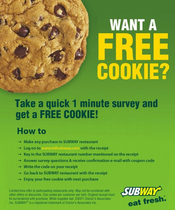 tell Subway Free Cookie Code