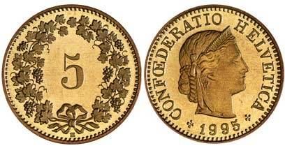 Швейцарская монета в 5 раппенрв