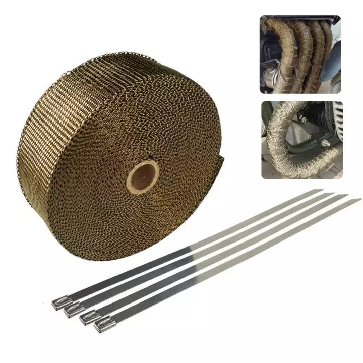 outflety 5 meters titanium exhaust heat wrap heat shield tape for pipe titanium motorcycle exhaust tape thermal protection