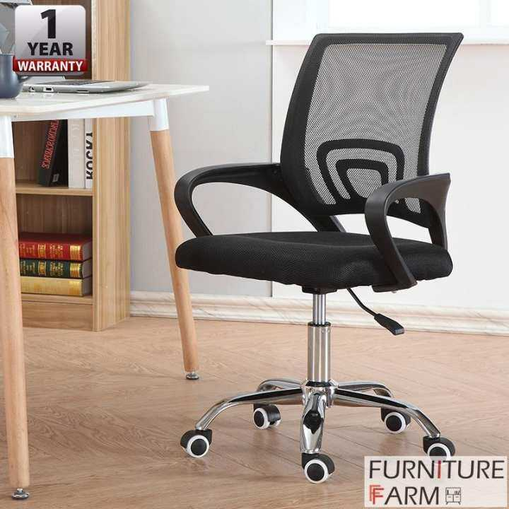 swivel chair lazada bar stool covers f&f: adjustable med-back mesh mix & match office with chrome leg |