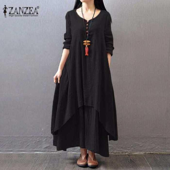 ZANZEA Boho Long Maxi Dress Women Casual Solid Cotton
