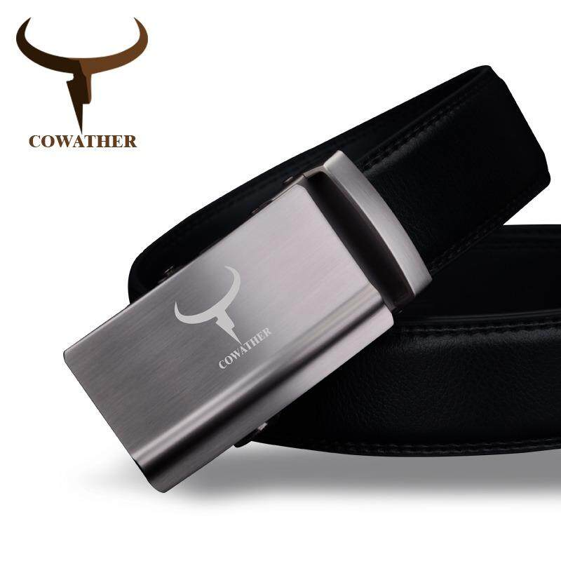 COWATHER Men's 100% Cow Leather Ratchet Dress Belt Automatic Buckle Strap Waistband Belts for Men Lelaki automatik gancu tali pinggang - intl