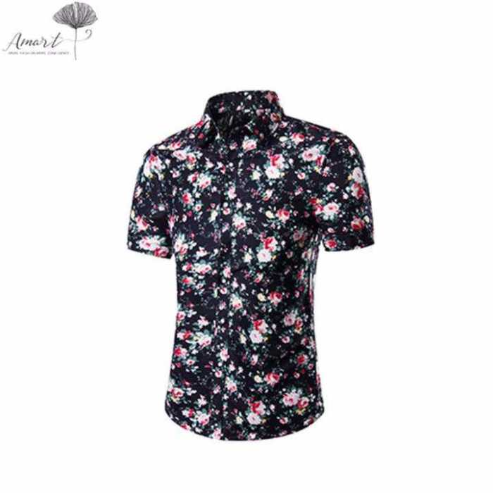 Amart 2017 Men Beach Shirt Turn-down Collar Slim Fit