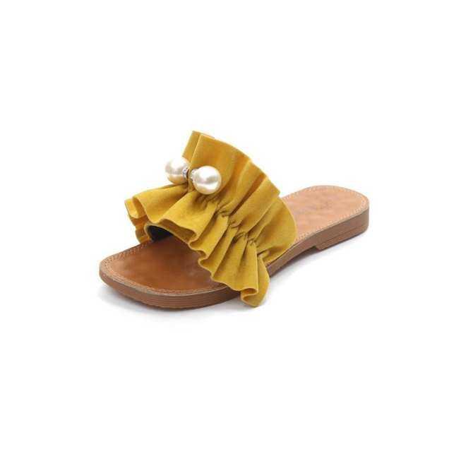 3 Warna Sandal Wanita Lotus Manik-manik Daun Korea Liar Sandal Setengah Perawatan Tarik Kata Dasar Lembut Fashion (Putih, Hitam kuning/Ukuran: 35,36, 37,38, 39,40)