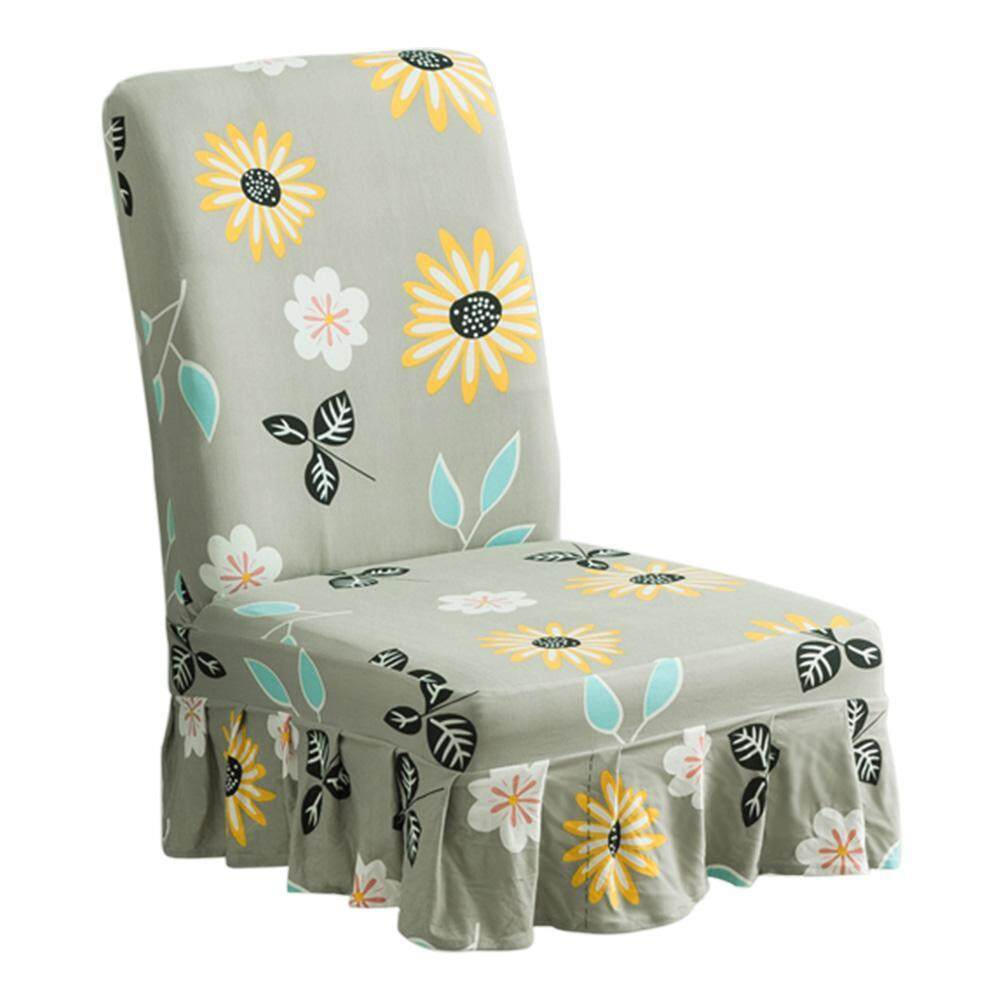 Restaurant High Chair Cover High Quality Fabric Sunflower Print Elastic Knitted Dining Chair Cover Restaurant Stool Wrap Green Skirt Hemline Intl Green
