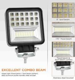 jiuch 4 inch 126w led work light strip flood light beam off road suv driving [ 1000 x 1000 Pixel ]