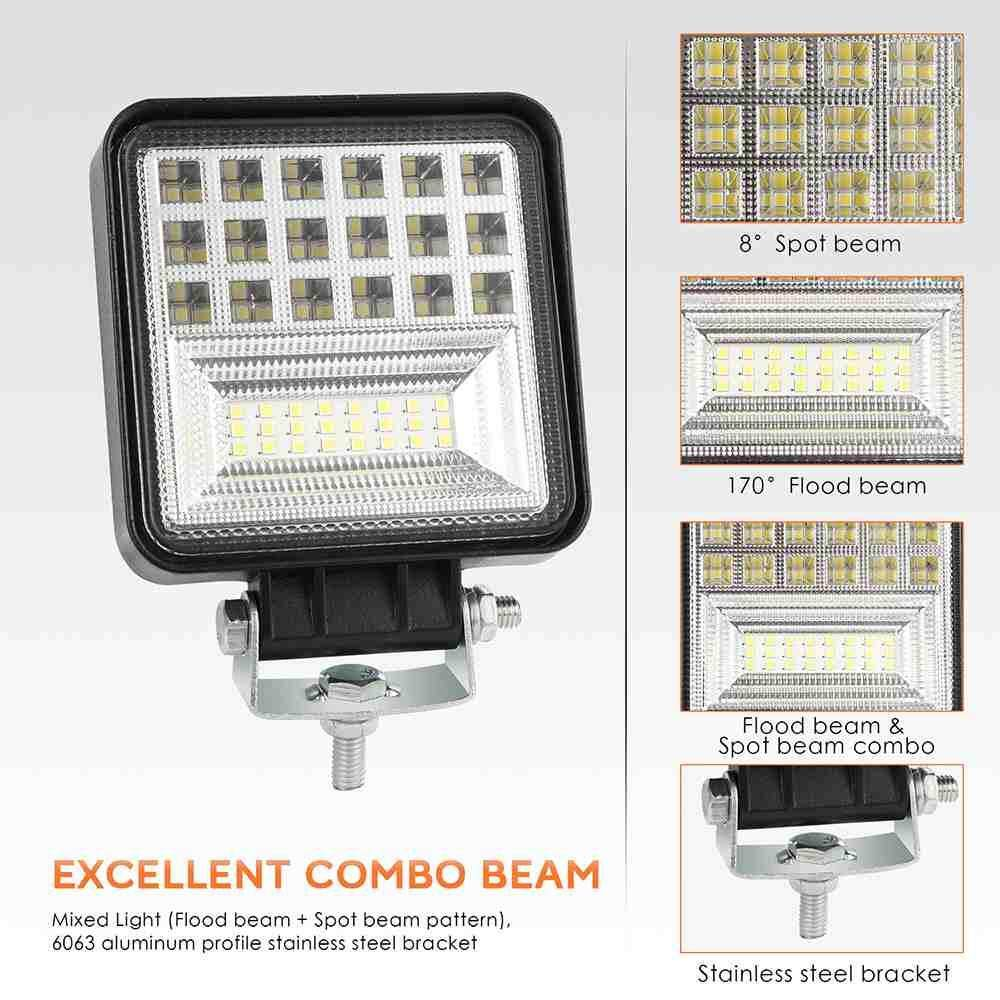 medium resolution of jiuch 4 inch 126w led work light strip flood light beam off road suv driving