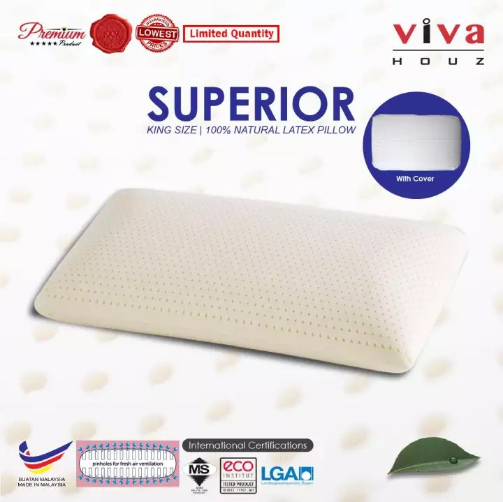 viva houz 100 natural latex pillow superior king size made in malaysia