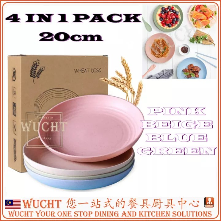 wucht 4 pcs x lightweight colorful plate wheat straw plate 20cm 4 pcs unbreakable dishes and plates set non toxin dishwasher microwave safe bpa