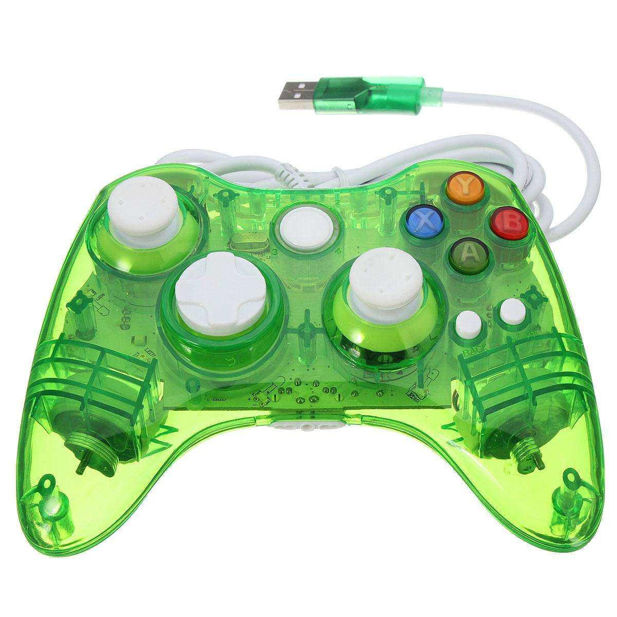 hight resolution of glow led colors wired usb controller gamepad fit for microsoft xbox 360 pc green