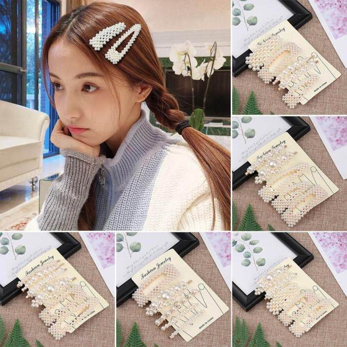 gold new 1 set korean ins vintage pearl hairpins fashion hair accessories imitiation pearl hair clips for girls hair styling