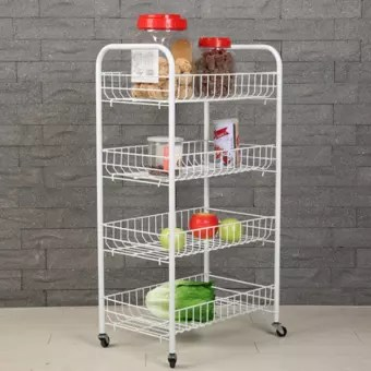 metal kitchen rack cabinet organization 4 layer with casters bowl cup cutlery