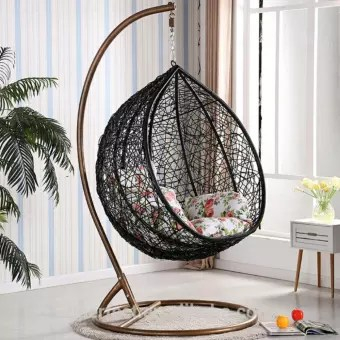 swing chair with stand malaysia acrylic clear luxurie xl round hanging hammock indoor outdoor use lazada