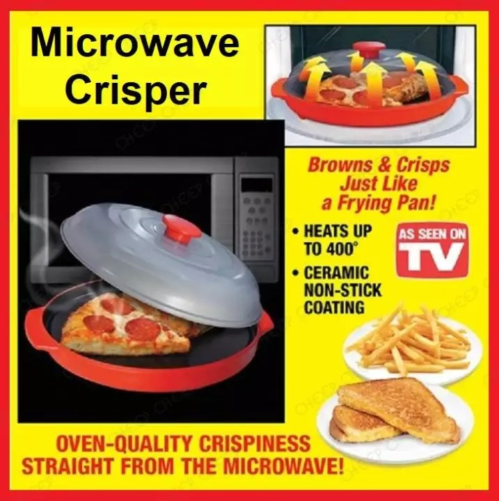 microwave crisper bpa free non stick covered energized cooker for crispy oven deep fryer frying pan effects reheat