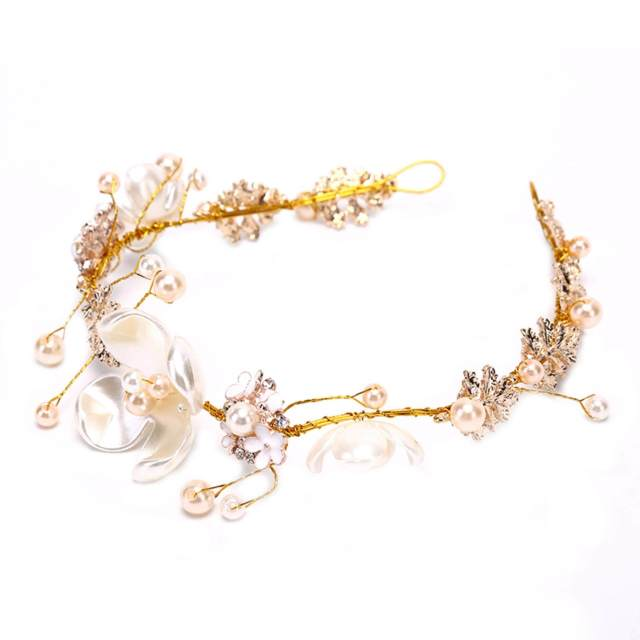 amango women bridal flower faux pearl rhinestone wedding hair clip tiara fashion