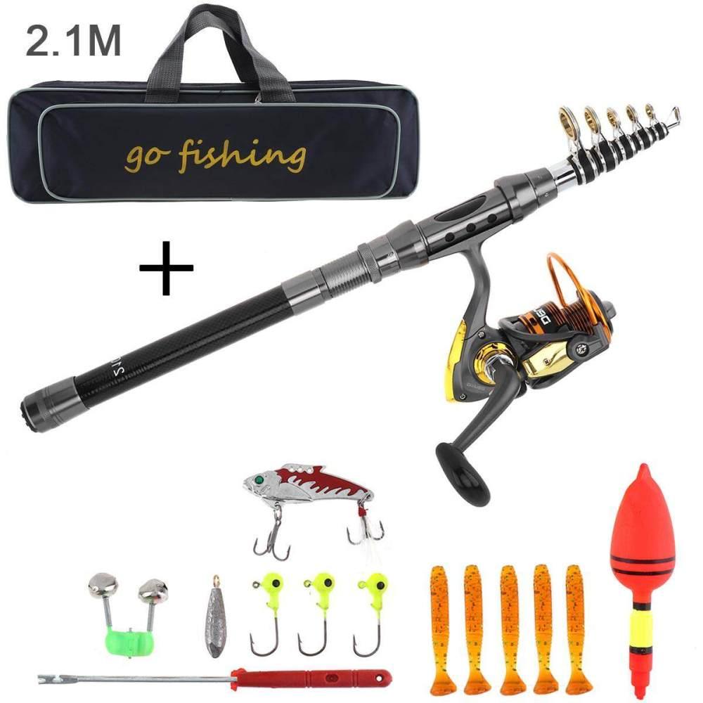 medium resolution of 2 1m carbon fiber fishing rod reel combo full kits 2000 spinning reel with fishing bag
