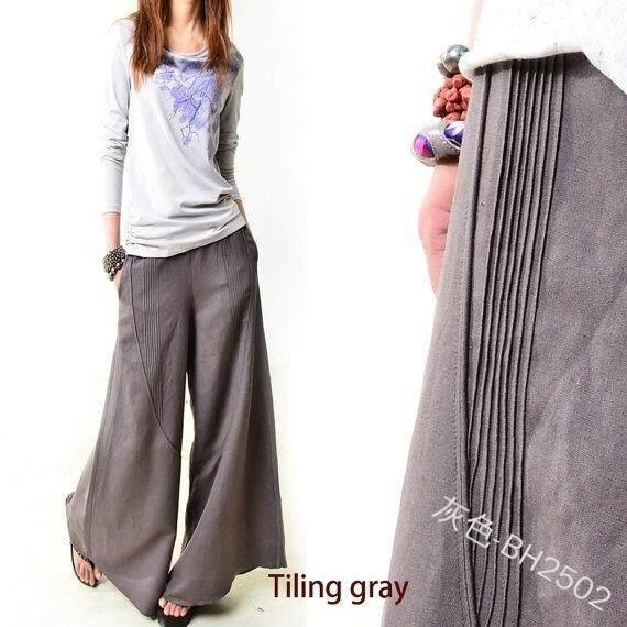 Tiga Warna Populer Liar Fashion Baru Lembut Sederhana Wanita Celana Cutbray Celana