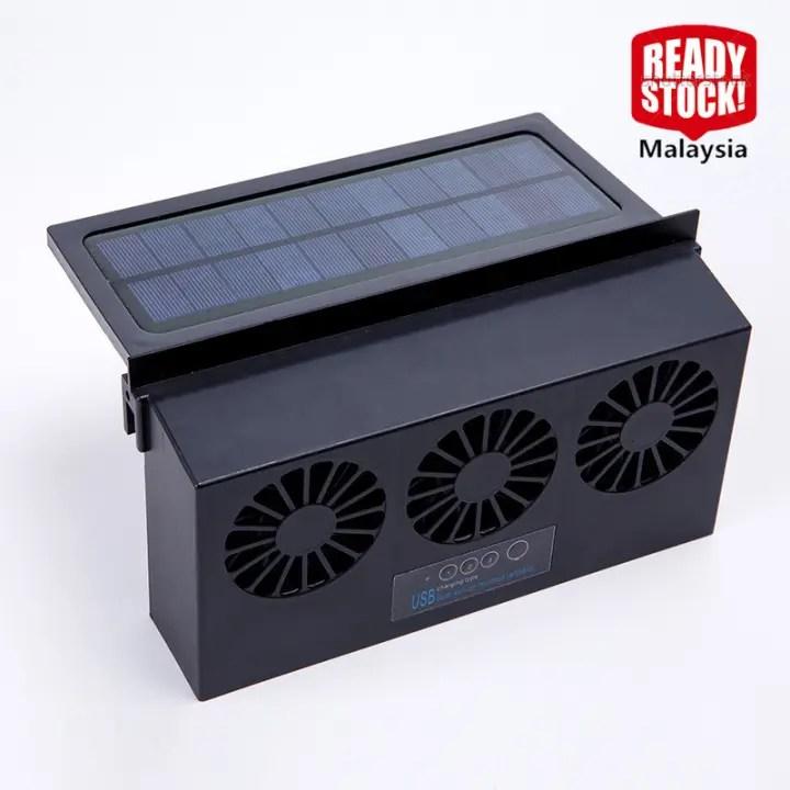 solar powered car cooler window radiator exhaust fan auto air vent fan