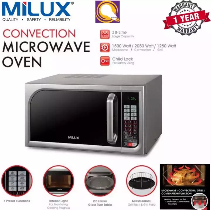 authorised dealer milux mmo 5038 convection microwave oven with grill 38 litre