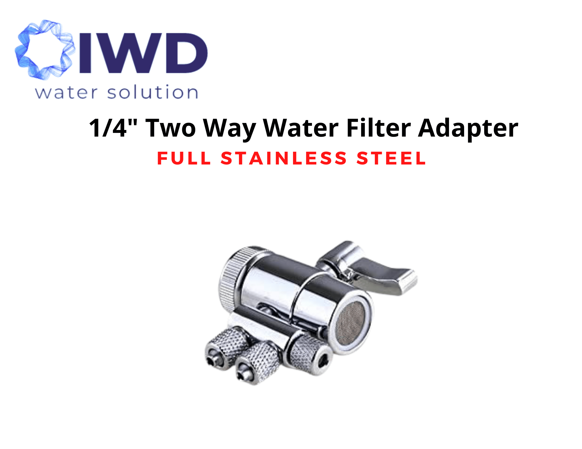 full stainless steel two way diverter valve 1 2 female thread kitchen sink water faucet tap for counter top water filter
