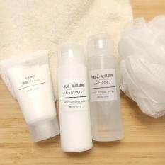 MUJI Basic Skincare 4 pcs Set  (Cleanser+Toner+Lotion+Foaming Ball) Travel Size - Multipack Skin care travel set - Trial Kit