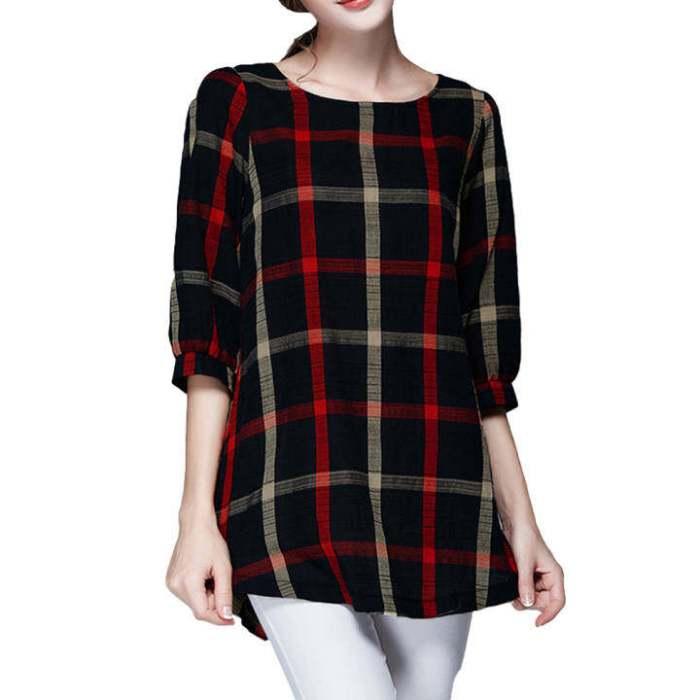Women Ladies Blouse Plaid Print O Neck 3/4 Sleeve Plus
