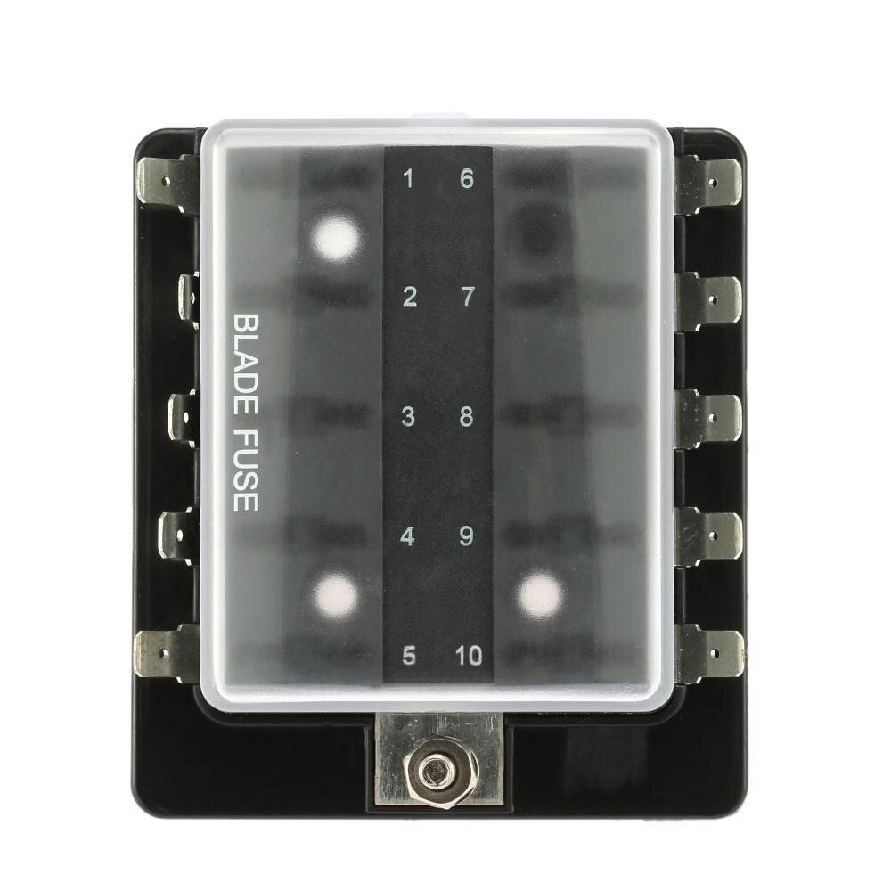 medium resolution of 10 way blade fuse box holder with plastic cover for car boat marine 12v 24v