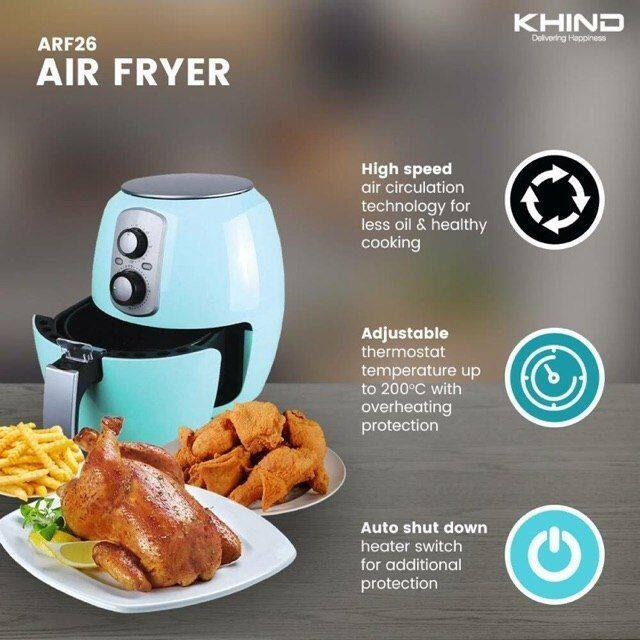 Khind ARF26 Electric Air Fryer 2.6L with Timer ARF-26 (Non Stick Inner) |  Lazada
