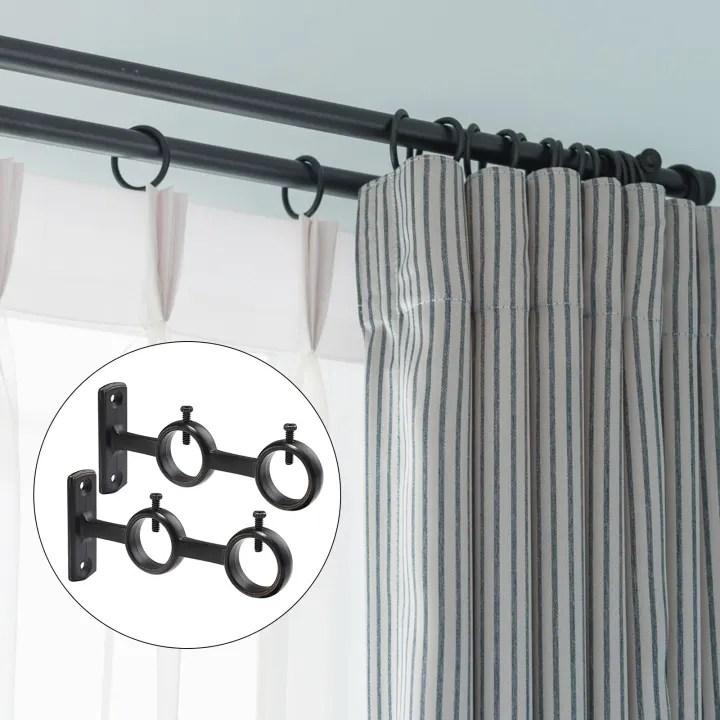 2 piece curtain rod bracket curtain accessories double rod bracket support rod rack