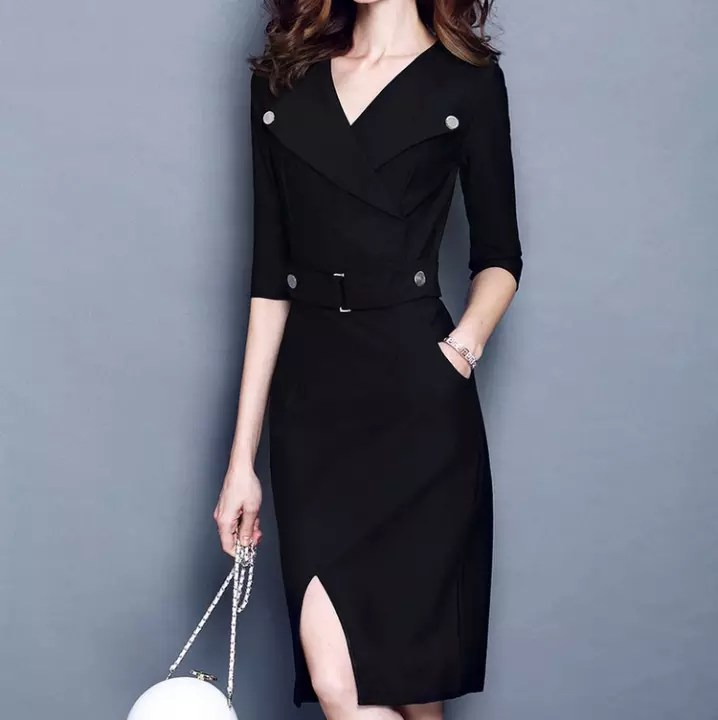 Spring Autumn Women Office Wear Clothing Elegant V Neck Women Work Dress Suit Business Formal Female Clothes Lazada