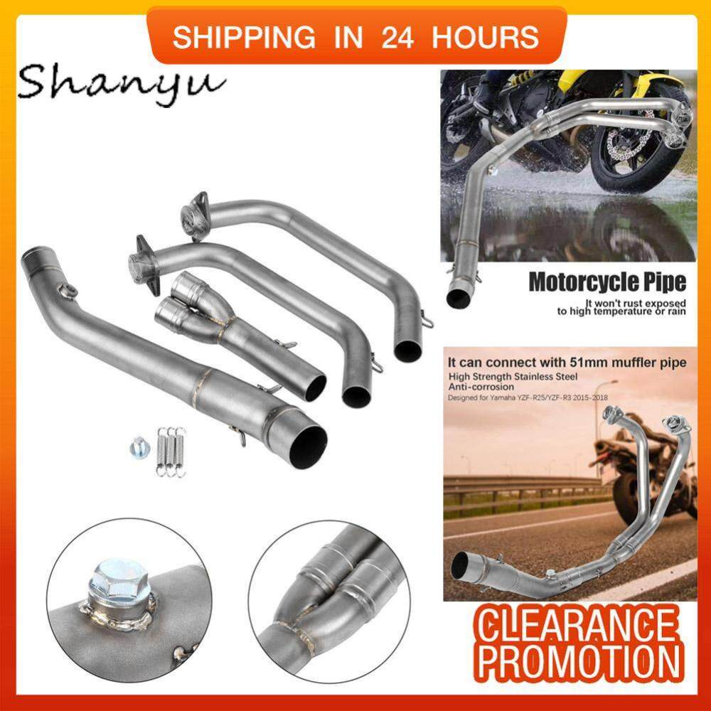 medium resolution of motorcycle full exhaust system vent front pipe link connect for yamaha yzf r25 yzf