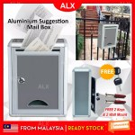 Alx Malaysia Aluminium Mailbox Suggestion Letter Box Wt Security Lock Key Outdoor Waterproof Post Newspaper Durable Home Office Lazada