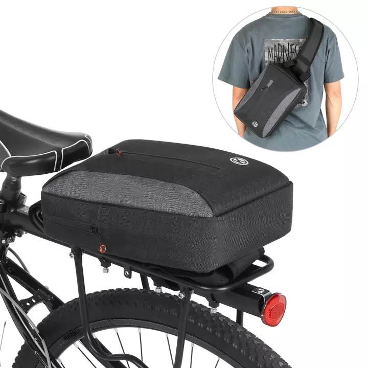 2 in 1 bicycle trunk bag casual chest sling pack bag cycling bike rear rack carrier bag pannier