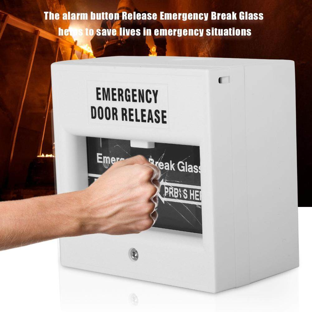 hight resolution of emergency door release fire alarm security glass break alarm button white
