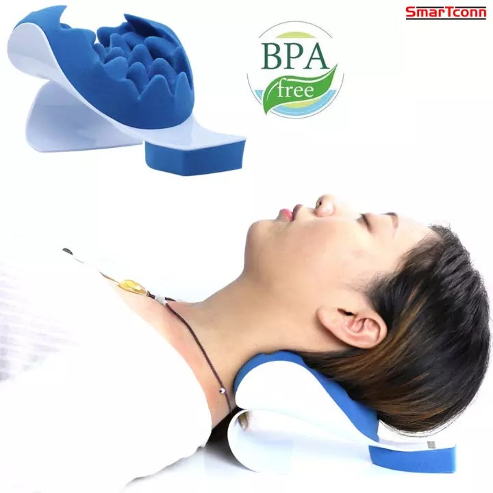 smartconn chiropractic pillow neck and shoulder relaxer cervical pillow neck traction device for pain relief management and cervical spine alignment