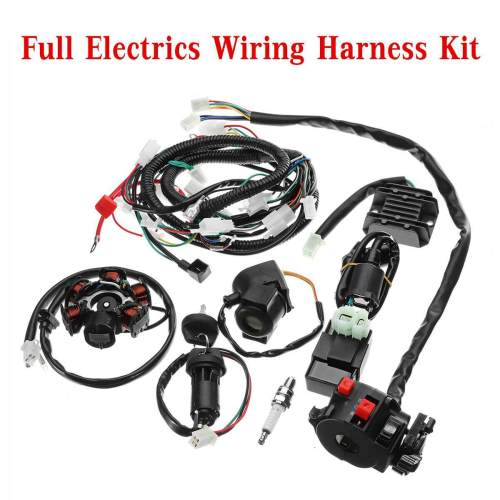 small resolution of full electrics wiring harness loom cdi coil for gy6 150cc atv quad buggy go kart
