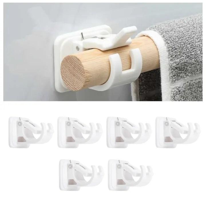 bolehdeals 6x curtain rod brackets no drill adjustable hang curtain rod holder for kitchen