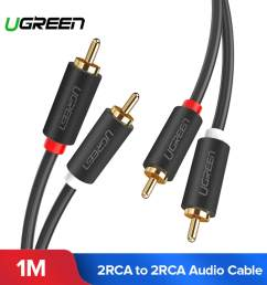 ugreen 1meter 2rca to 2 rca male to male audio cable gold plated rca audio [ 1920 x 1920 Pixel ]