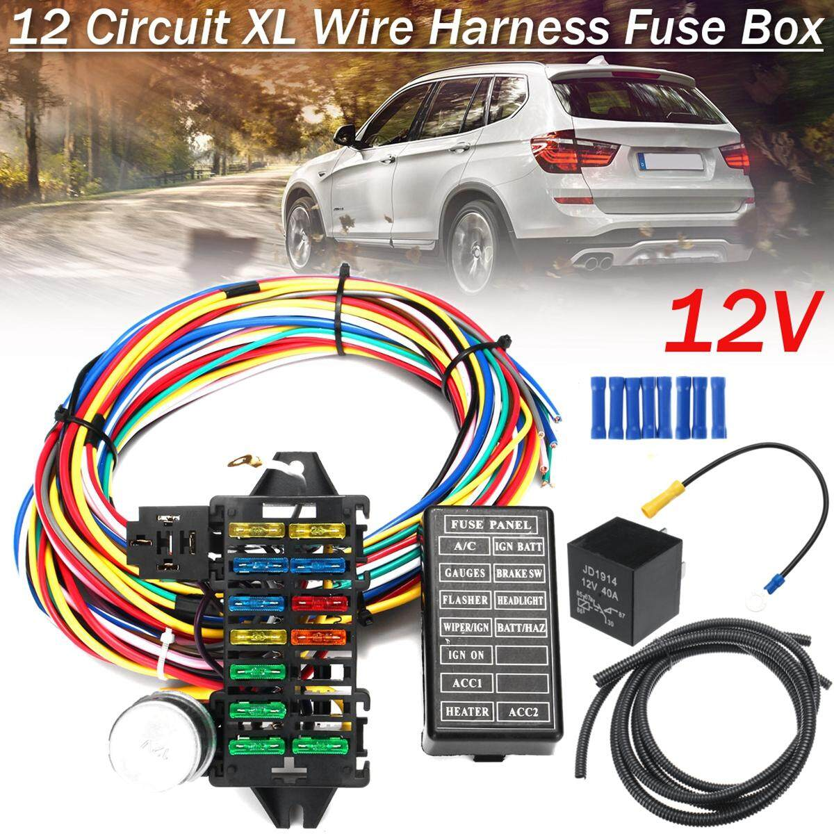 hight resolution of  free shipping flash deal 12 circuit wiring harness 14 fuse 12v muscle car