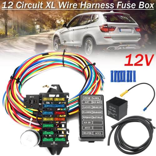 small resolution of  free shipping flash deal 12 circuit wiring harness 14 fuse 12v muscle car