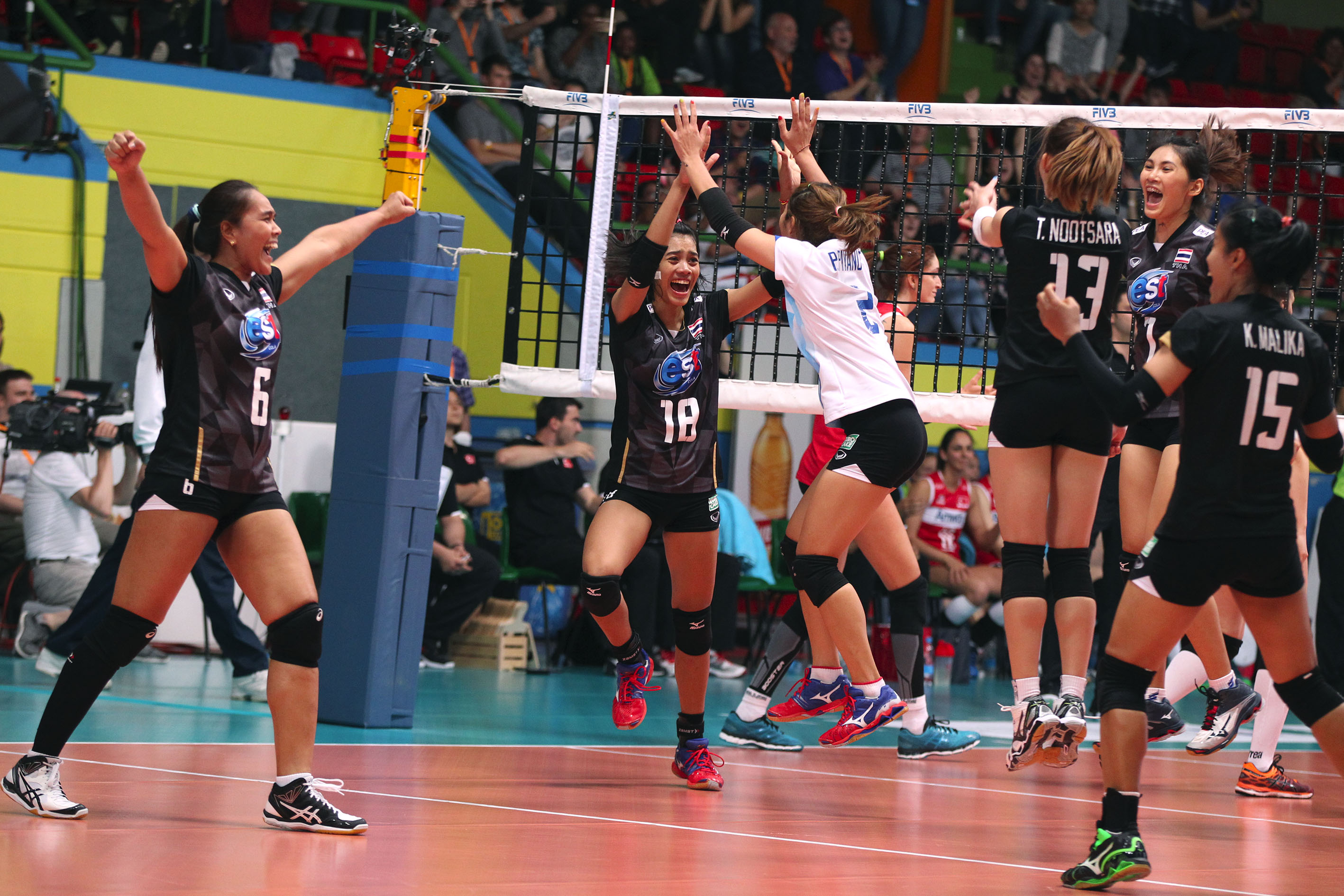 THAILAND JUMP FOR JOY FOLLOWING THEIR INCREDIBLE WIN OVER TURKEY.
