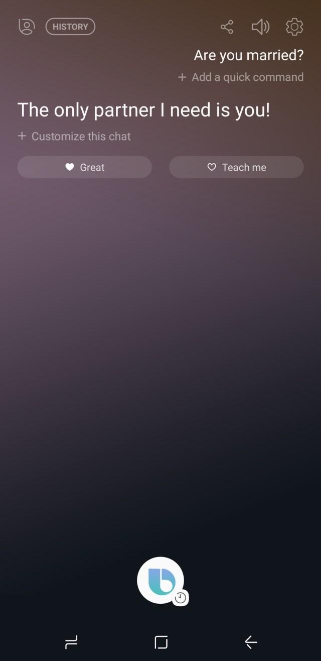Samsung Galaxy Note 8 - Bixby is good at flirting.