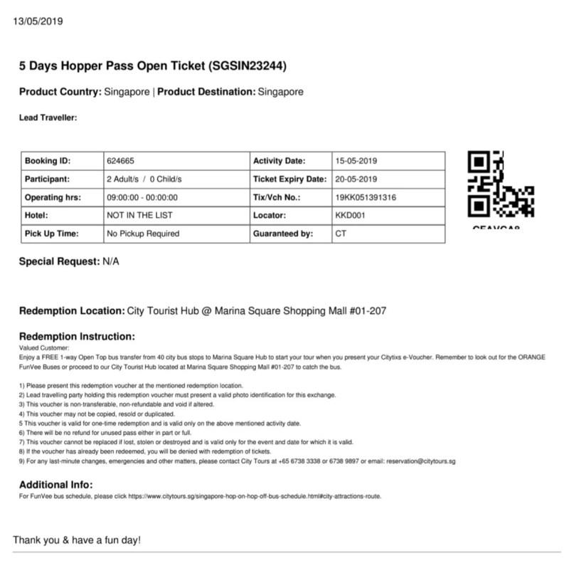 シンガポールシティパスバウチャー