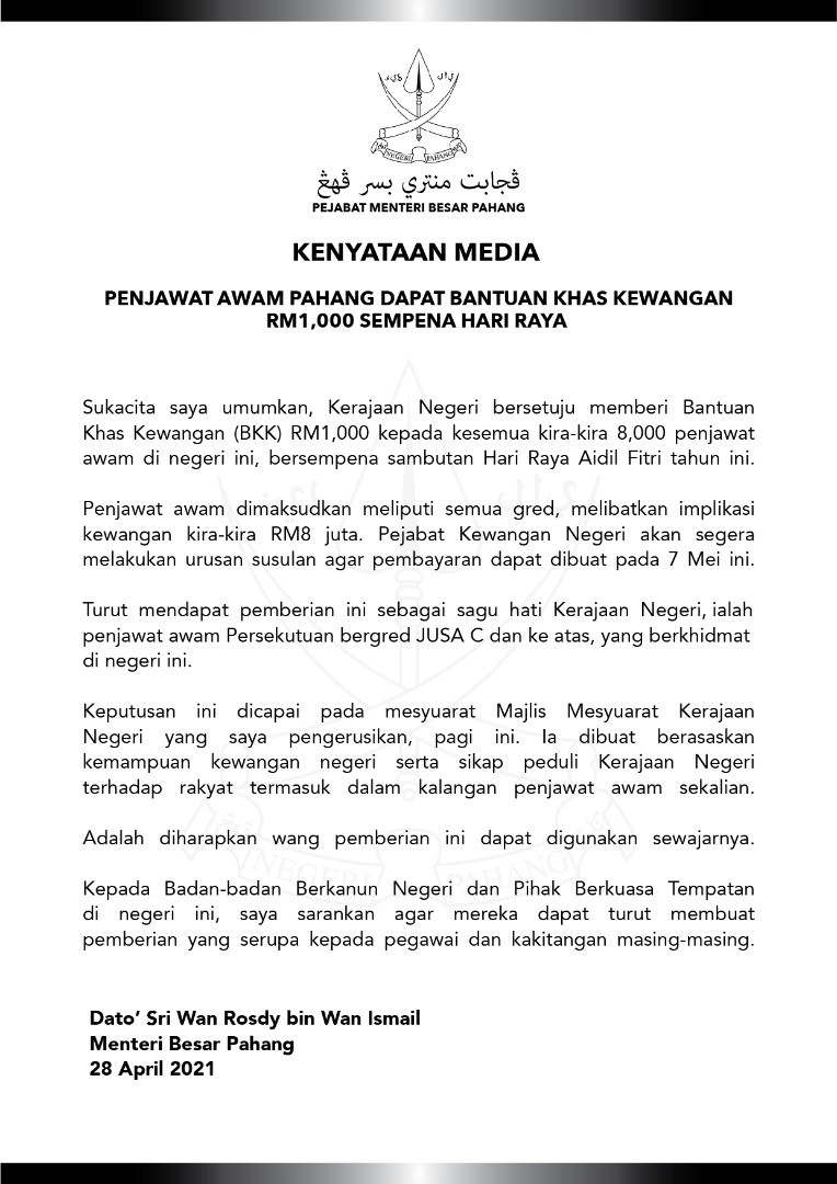 Kenyataan Media Bonus Aidilfitri Pahang