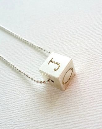 4 sides engraved necklace, Cube Necklace, personalized initials pendant, silver letters charm, Custom initial Necklace, Mothers day gift.