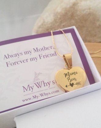 personalized Gold heart necklace, mothers day jewelry gift, engraved heart pendant, custom handwriting necklace, love gift for her with card