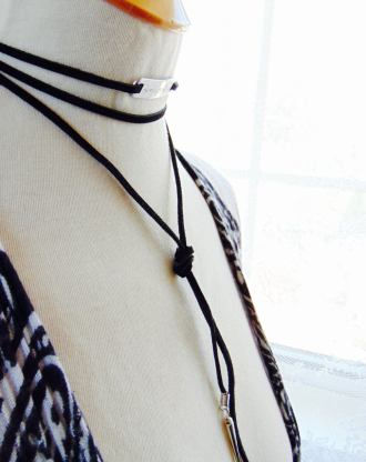 Black leather lariat necklace with personalized bar and silver spikes, Sued Y drop tie necklace, custom wrap choker / cuff bracelet / anklet