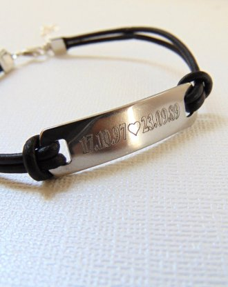 Custom Black leather bracelet, engraved message bar bracelet, Personalized nameplate bracelet, inspirational Quote jewelry gift for him